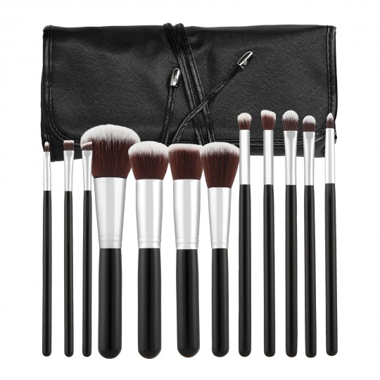MIMO by Tools For Beauty, 12 Pcs Makeup Brush Set, Black