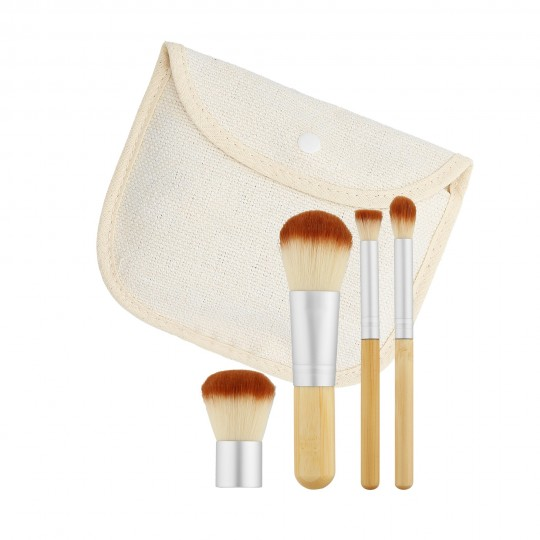 MIMO by Tools For Beauty, 4 Pcs Makeup Brush Set, Travel Size