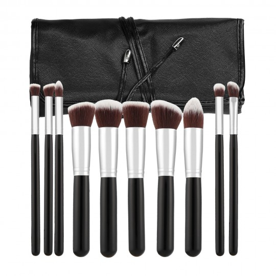 MIMO by Tools For Beauty, 10 pcs Makeup Brush Set, Black