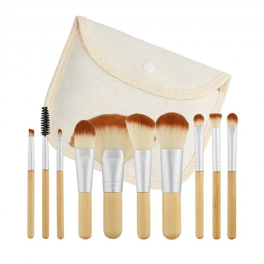 MIMO by Tools For Beauty, 10 Pcs Makeup Brush Set, Travel Size