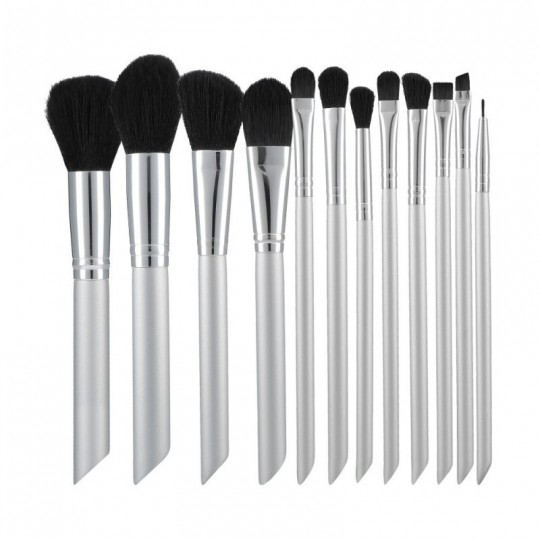 MIMO set of 12 make-up brushes, Silver