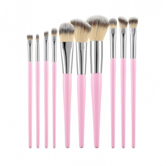 MIMO by Tools For Beauty, 10 Pcs Makeup Brush Set, Pink