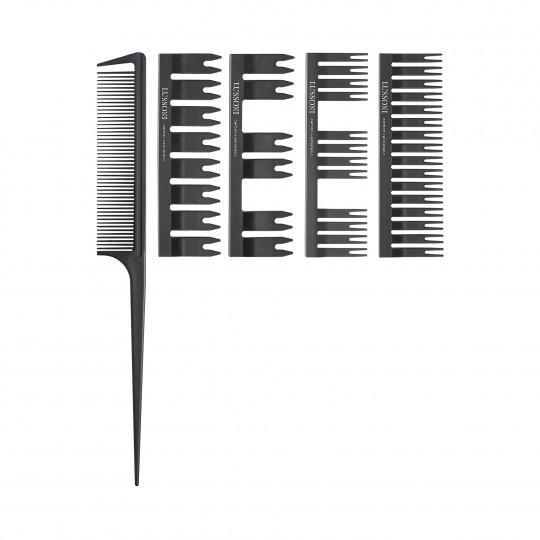 LUSSONI by Tools For Beauty, DC 500 Dressing Comb Set: Tail Comb + 4 Covers - 1