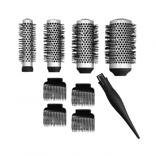 LUSSONI Set of 4 interchangeable styling brushes + 4 hair clips