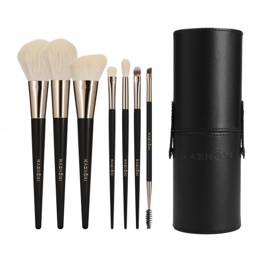 Kashōki Suisen Makeup Brush Set with Brush Tube 8 Pcs