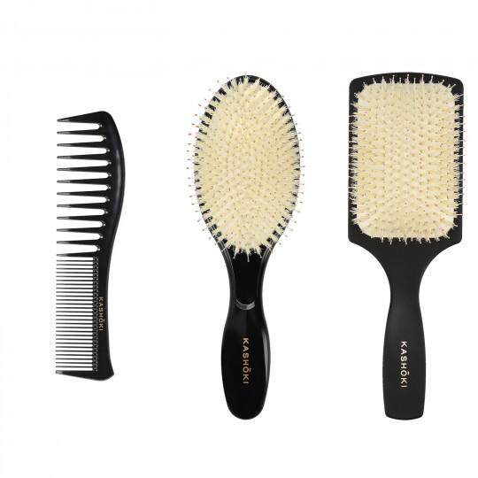 Kashōki Hasu Hair Styling Set: 1 x Detangling Brush, 1 x Round brush, 1 x Comb