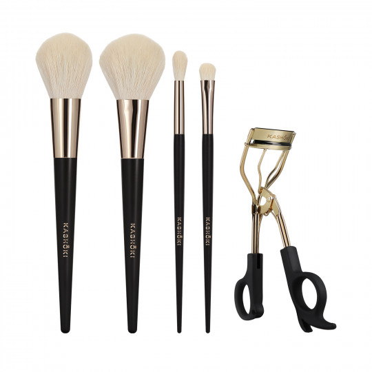 Kashōki Oniyuri 5 Pcs Makeup Brush Set With Eyelash Curler