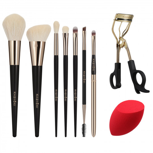Kashōki Himawari 9 Pcs Makeup Brush Set With Eyelash Curler And Makeup Sponge