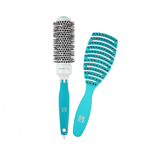 ilū 2 Pc Set Turquoise Detangling Hairbrush and Round Styling Hairbrush