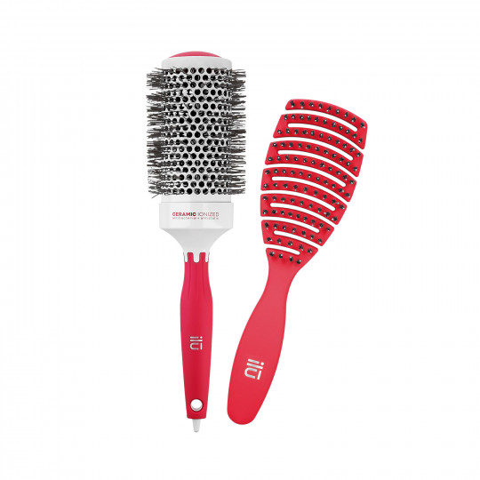 ilū by Tools For Beauty, 2 Pcs Set Red Detangling Hairbrush and Round Styling Hairbrush