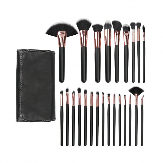 MIMO by Tools For Beauty, 24 Pcs Makeup Brush Set, Black