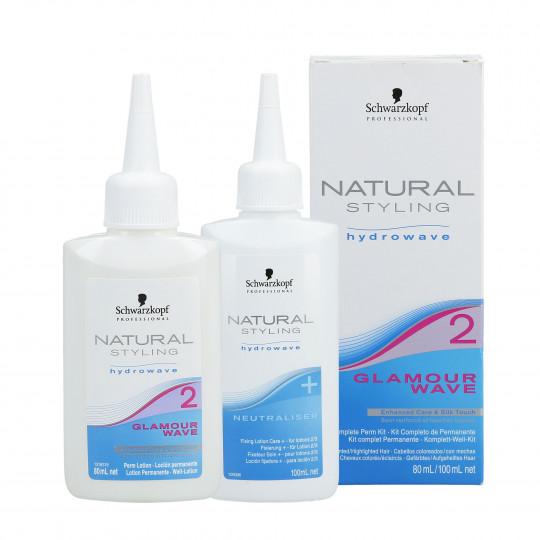 SCHWARZKOPF PROFESSIONAL NATURAL STYLING Glamour Wave 2 Perm lotion 80ml + Neutralizer 100ml - 1