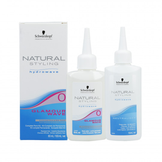 SCHWARZKOPF PROFESSIONAL NATURAL STYLING Glamour Wave 0 Perm lotion 80ml + Neutralizer 100ml