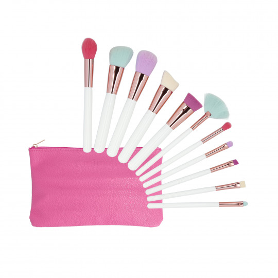 MIMO by Tools For Beauty, 11 pcs makeup brush set with case, Multicolor