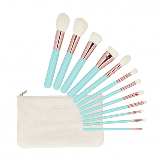 MIMO by Tools For Beauty, 12 pcs makeup brush set with case, Turquoise