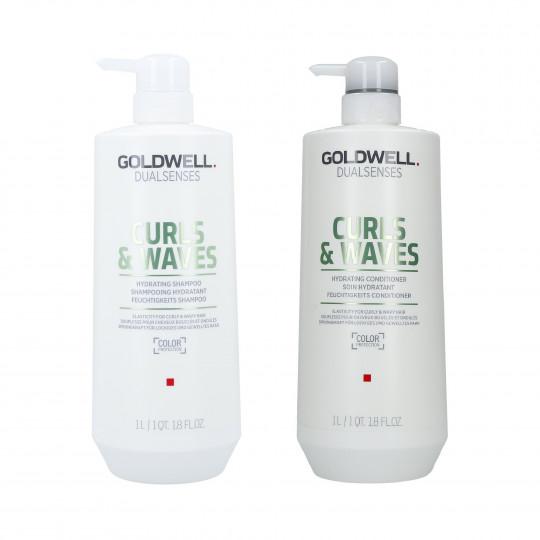 GOLDWELL DUALSENSES CURLS&WAVES Shampoo 1000ml + Conditioner 1000ml - 1