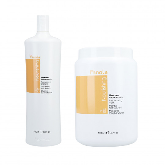 FANOLA NOURISHING Shampoo 1000ml+ Restructuring Mask 1500ml for Dry Hair