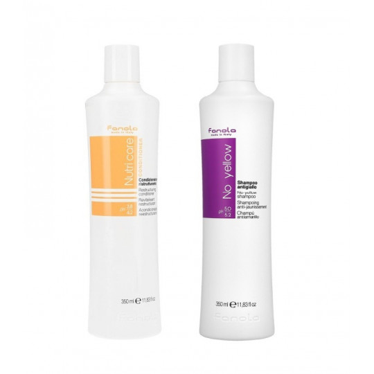 FANOLA Set for dry and lightened hair No Yellow Shampoo 350ml+Conditioner 350ml - 1